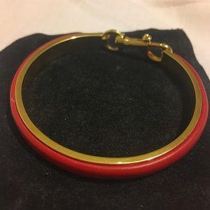 rebecca minkoff red leather cuff bracelet